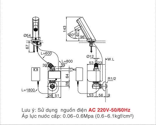 Vòi rửa lavabo cảm ứng Inax AMV-90 (220V)