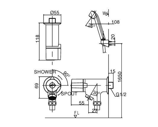 Vòi sen tắm lạnh Tay sen mạ INAX BFV-10-2C