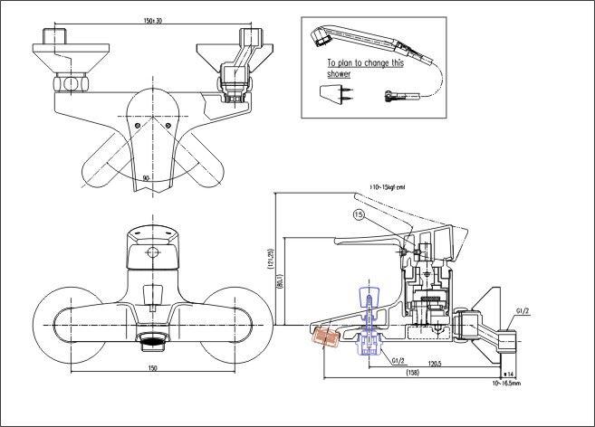 Vòi sen tắm nóng lạnh INAX BFV-1003S