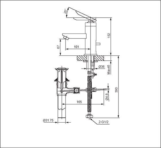 Vòi rửa lavabo nóng lạnh 1 chân Inax LFV-4000S