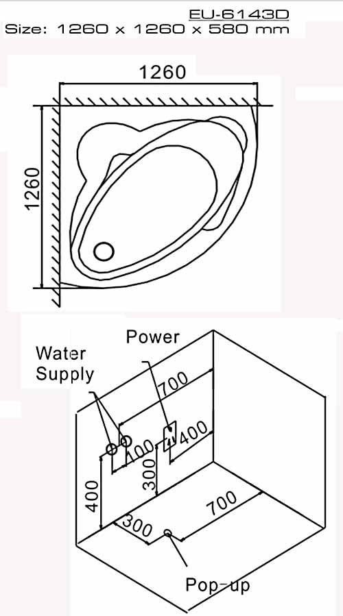 Bản vẽ kỹ thuật lắp đặt bồn tắm góc massage Euroking EU-6143D