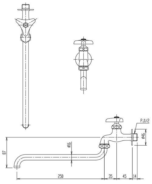 Vòi xả lạnh gắn tường INAX LF-12-13