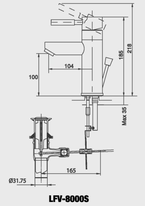Vòi rửa lavabo nóng lạnh 1 chân Inax LFV-8000S