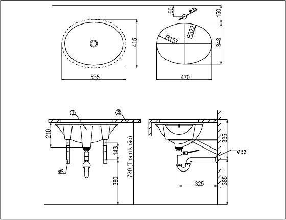 Chậu rửa âm bàn INAX L-2293V,AL-2293V