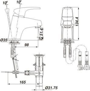 Ban ve lap dat Inax LFV 282S 297x300 Vòi rửa lavabo nóng lạnh 1 chân Inax LFV 282S