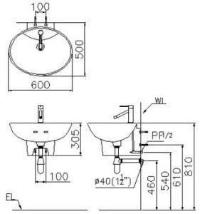 LF5234+B226 288x300 Chậu rửa treo tường Caesar LF5234