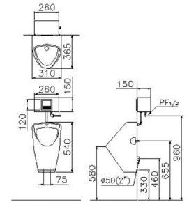 Bộ tiểu nam cảm ứng Caesar U0261 (bộ xả A637)