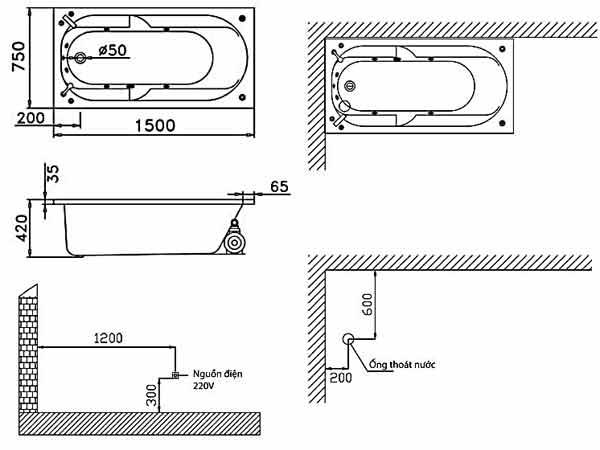 Bản vẽ kỹ thuật lắp đặt bồn tắm massage Caesar MT0250L(R)