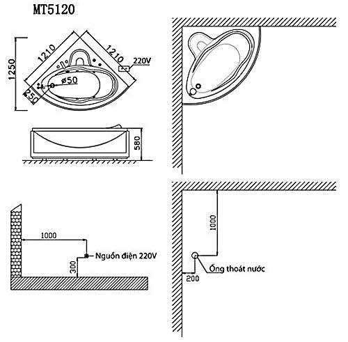 Bản vẽ kỹ thuật lắp đặt bồn tắm góc massage Caesar MT5120