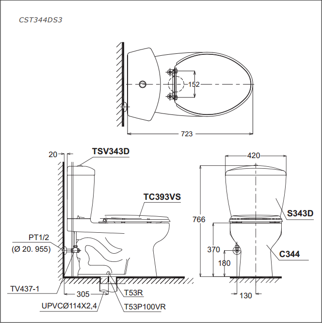 Bàn cầu TOTO 2 khối CST344DS3 (Made in Viet Nam)