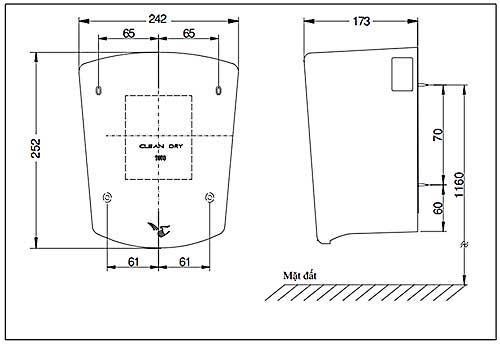 Bản vẽ kỹ thuật Máy sấy tay thông minh TOTO HD4000CD