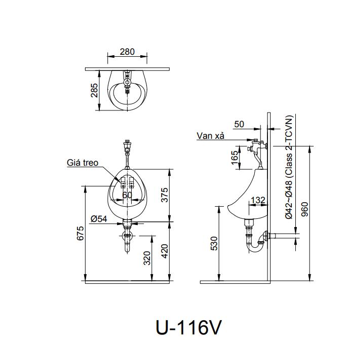 bản vẽ Bồn tiểu nam treo tường Inax U-116V (Màu Trắng)