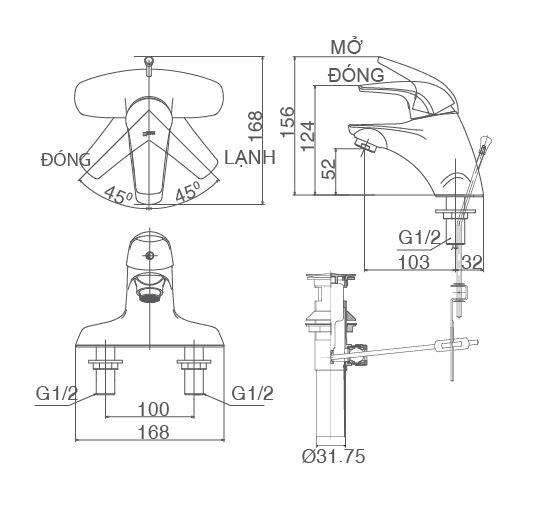 Vòi rửa lavabo nóng lạnh Inax LFV-3001S(hàng ngưng sx)