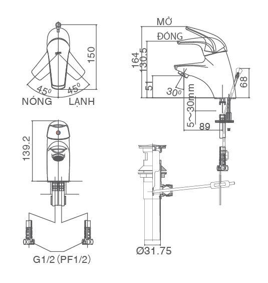 Vòi rửa lavabo nóng lạnh 1 chân Inax LFV-3002S(hàng ngưng sx)