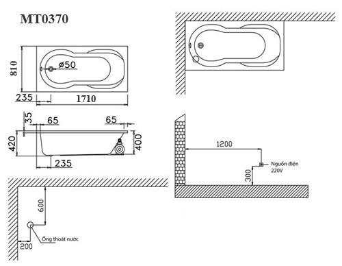 Bản vẽ kỹ thuật lắp đặt bồn tắm massage Caesar MT0370L(R)