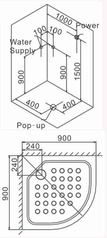 Bản vẽ lắp đặt kỹ thuật phòng xông hơi Euroking EU-8603