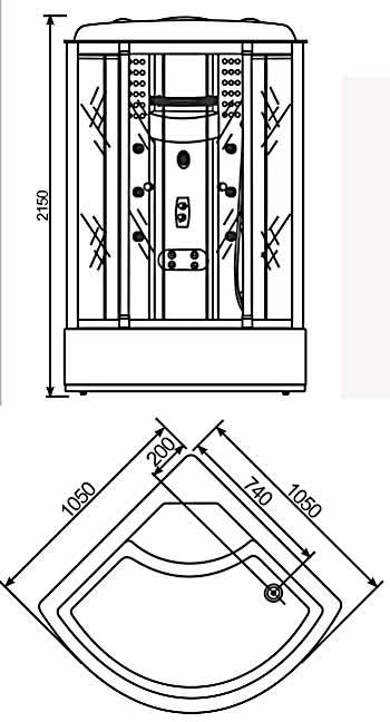 Bản vẽ kỹ thuật lắp đặt Phòng xông hơi NOFER VS-802