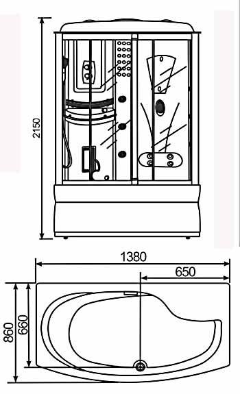 Phòng xông hơi Nofer VS-805 (Xông ướt, Massage, Sục khí)