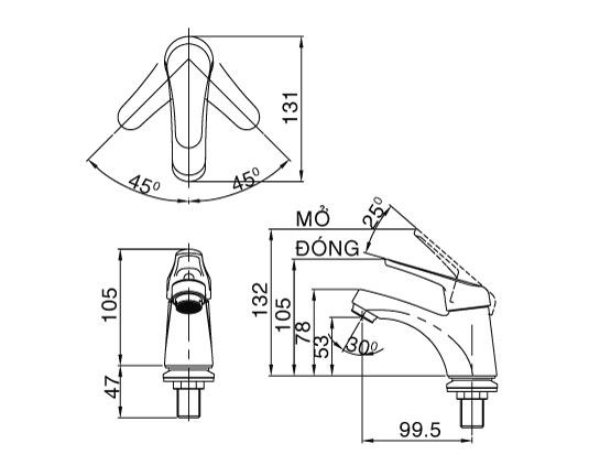 Vòi rửa lavabo lạnh 1 chân Inax LFV-20S