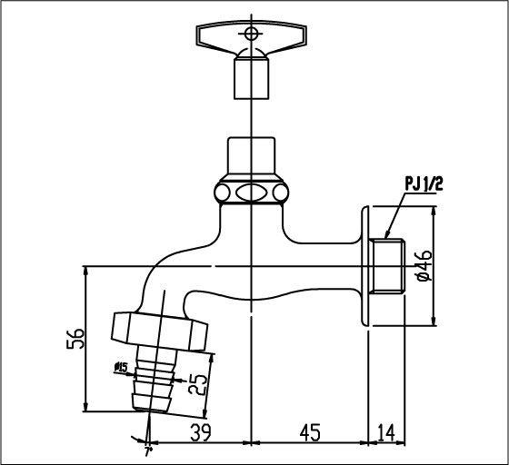 Vòi xả lạnh gắn tường INAX LF-15G-13