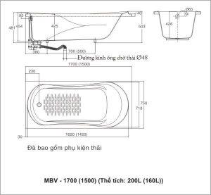 Ban ve ky thuat Inax MBV 1500 MBV 1700 300x277 Bồn tắm Galaxy Màu nhạt INAX MBV 1500 (1500 x 750 x 503)