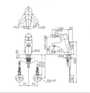 Ban ve lap dat Inax INAX LFV 5102S 292x300 Vòi rửa Lavabo nóng lạnh cao cấp nhập khẩu Nhật Bản Inax LFV 5102S