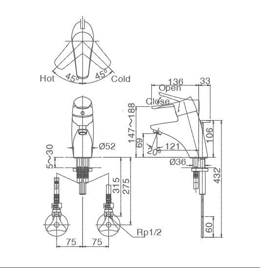 Vòi rửa lavabo nóng lạnh Inax LFV-5102S cao cấp nhập khẩu Nhật Bản