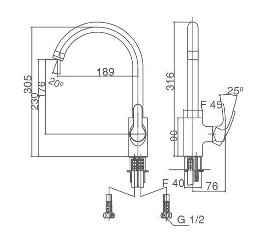 Vòi rửa bát nóng lạnh gắn chậu Inax SFV-802S