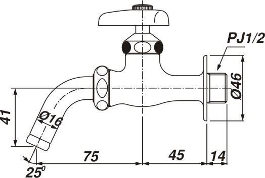 Vòi xả lạnh gắn tường INAX LF-7R-13