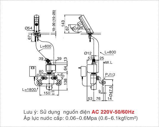 Vòi rửa lavabo cảm ứng nóng lạnh Inax AMV-90K (220V)