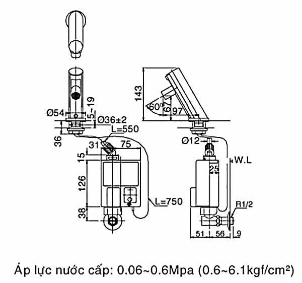 Vòi cảm ứng nóng lạnh Inax AMV-90K (Dùng Pin)