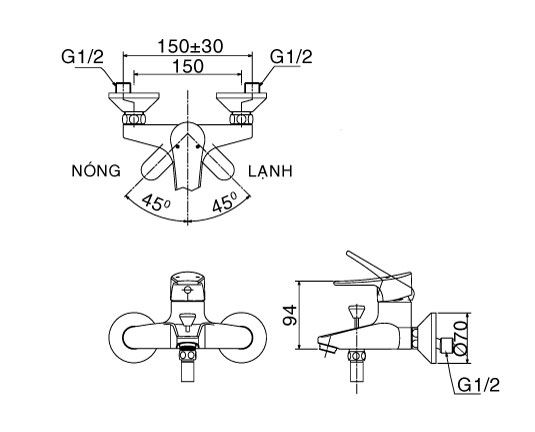 Vòi sen tắm nóng lạnh INAX BFV-1003S-1C