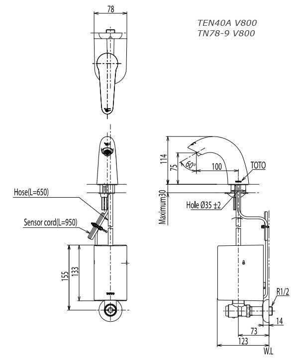 Vòi cảm ứng TOTO TEN40AV800/TN78-9V800 - Bản vẽ kỹ thuật