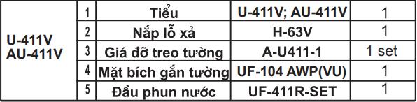 Bản vẽ bồn tiểu nam treo tường Inax U-411V