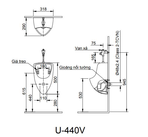 Bồn tiểu nam treo tường Inax U-440V (Rửa vành rim Màu trắng)