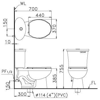 Bồn cầu 2 khối Caesar CT1328