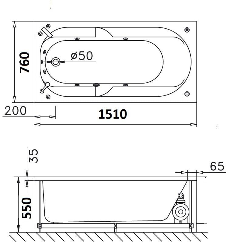 Bồn tắm xây Caesar AT0650 không chân yếm