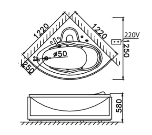 Bồn tắm góc xây Caesar AT5120A không chân yếm