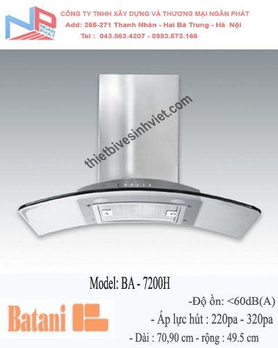 Hút mùi kính cong Batani BA-7200H