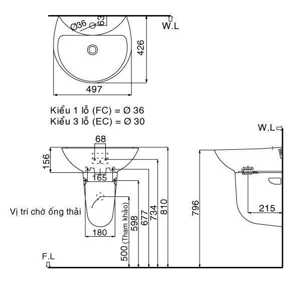 Chậu rửa chân lửng Inax L-285V+L-288VC (Màu trắng) 1
