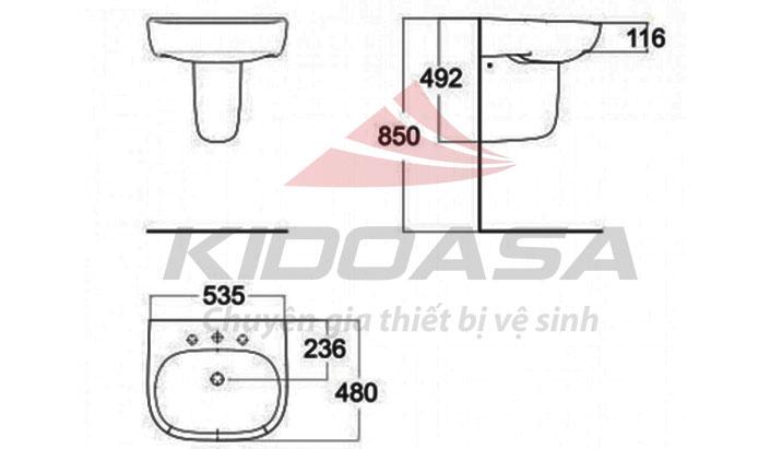 Chậu rửa chân lửng American Standard 0955-WT/ 0755-WT