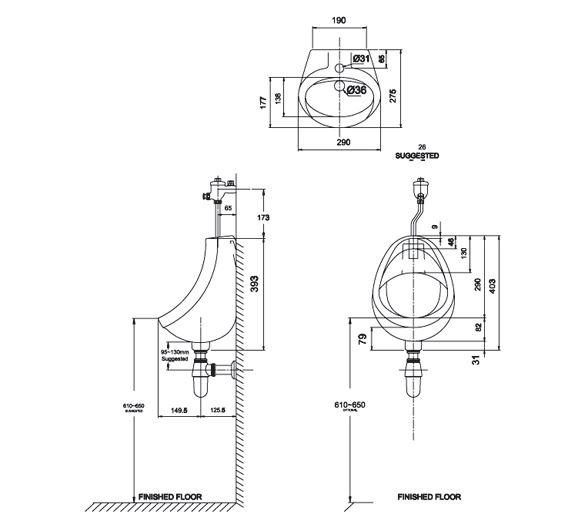 Bồn tiểu nam treo tường American Standard VF-0414