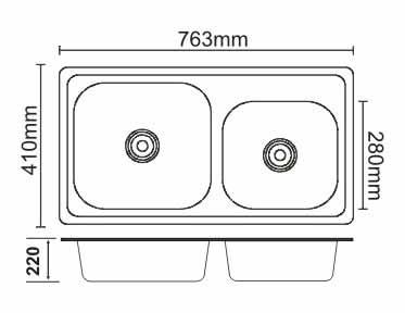 Chậu rửa bát nhập khẩu Picenza PZ-7643 (inox 304)