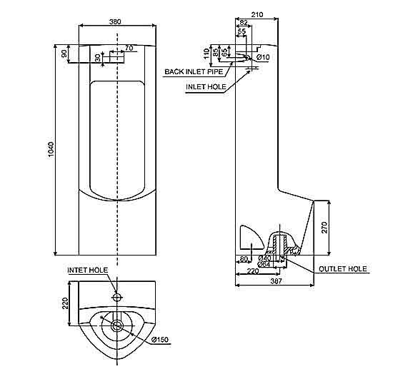 Bồn tiểu nam cảm ứng American Standard WP-6602 đặt sàn