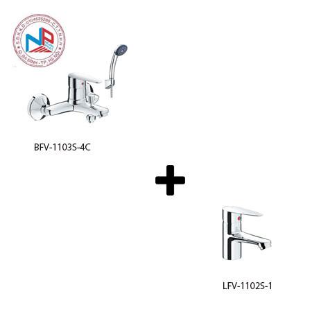 Sen tắm kèm vòi rửa lavabo Inax LFV-1102S-1+BFV-1103S-4C