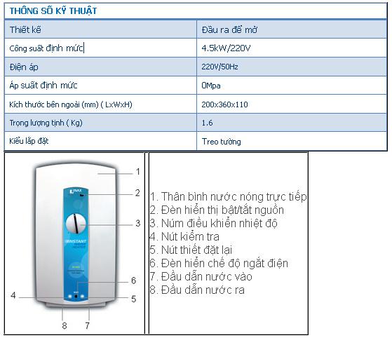 Bình nước nóng trực tiếp Inax HI-45SW