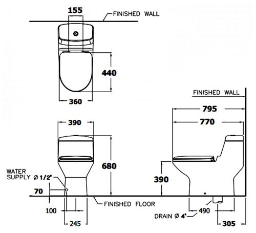Bồn cầu két liền COTTO C1111