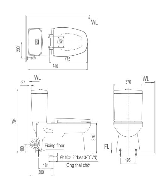 Bản vẽ kỹ thuật bồn cầu 2 khối Inax C-808VN
