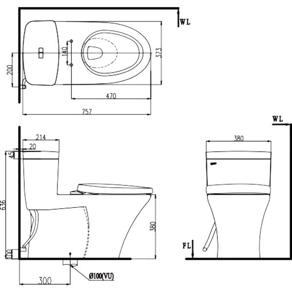 Bản vẽ kỹ thuật bồn cầu 1 khối Inax C-900VRN