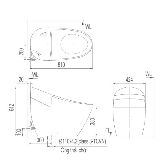 Bản vẽ kỹ thuật bồn cầu 1 khối Inax GC-2700VN